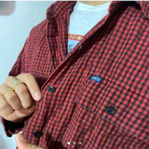 Red & black checkered polo flannel